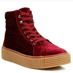 Burgundy Velvet Lace Platform Sneaker Size 6